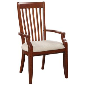 Slat Back Arm Chair with Upholstered Seat