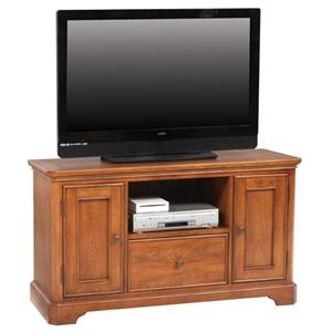 "50"" Media Base with Open Component Shelf and Drawer"