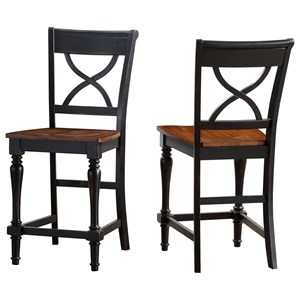 Casual X-Back Barstool with Two-Tone Finish