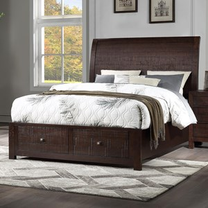 California King Storage Sleigh Bed with 2 Footboard Drawers