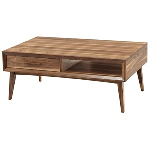 Contemporary Coffee Table with Splayed Legs and Full Extension Drawer
