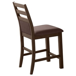 Contemporary Ladder Back Barstool with Seat and Lower Back Cushion