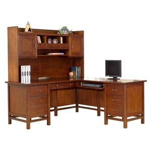 L-Shaped Desk and Hutch with Locking Drawers