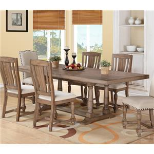 Rectangular Dining Table with Turned Trestle Base and Limed Finish