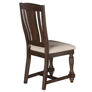 Upholstered Slat Back Side Chair with Turned Front Legs