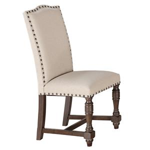 Fully Upholstered Dining Side Chair with Turned Front Legs