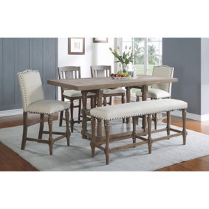 Counter Height Dining Set with Upholstered Bench