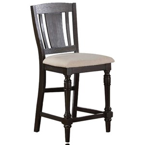 Slat Back Counter Height Barstool with Upholstered Seat