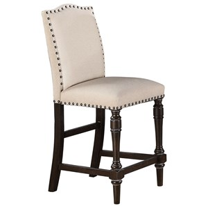Upholstered Counter Height Barstool with Nailhead