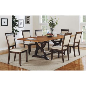 """Transitional Trestle Table with Two 18"""" Leaves"""