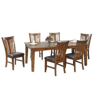 7 Piece Leg Dining Table and Side Chair Set