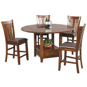 5 Piece Mission Style Counter Table  and Barstools