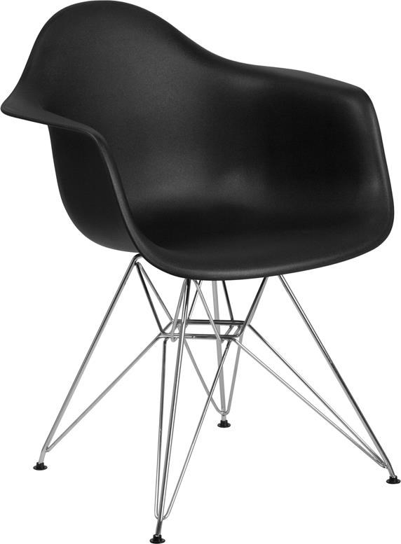 Black Plastic Arm Chair with Chrome Base