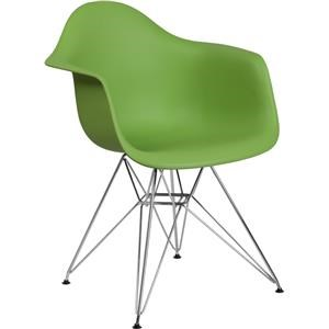 Green Plastic Arm Chair with Chrome Base