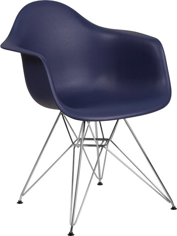 Navy Plastic Arm Chair with Chrome Base