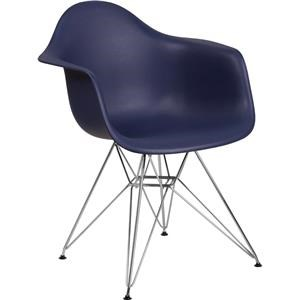 Navy Plastic Arm Chair with Chrome Base