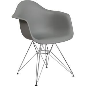 Gray Plastic Arm Chair with Chrome Base