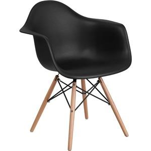 Black Plastic Arm Chair with Wooden Base