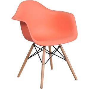 Peach Plastic Arm Chair with Wooden Base