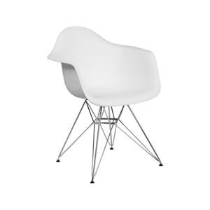 2 White Plastic Arm Chairs with Chrome Base