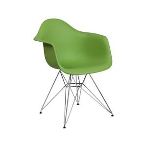 2 Green Plastic Arm Chairs with Chrome Base