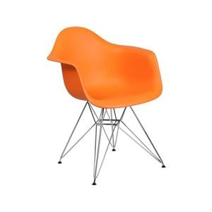 2 Orange Plastic Arm Chairs with Chrome Base