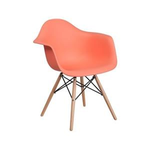 2 Peach Plastic Arm Chairs with Wooden Base