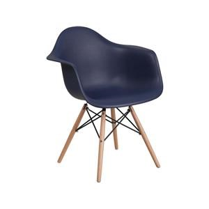 2 Navy Plastic Arm Chairs with Wooden Base
