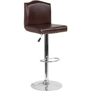 Adjustable Height Barstool with Accent Nail Trim in Brown Leather