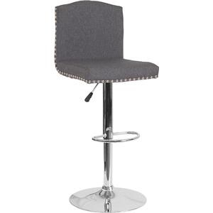 Adjustable Height Barstool with Accent Nail Trim in Dark Gray Fabric