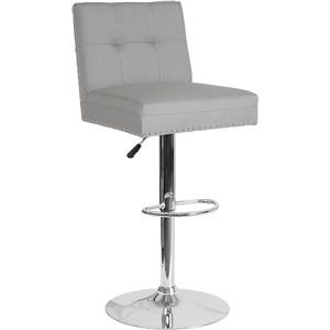 Adjustable Height Barstool with Accent Nail Trim in Light Gray Fabric