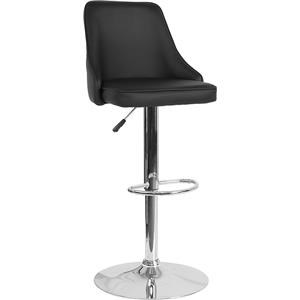 Contemporary Adjustable Height Barstool in Black Leather