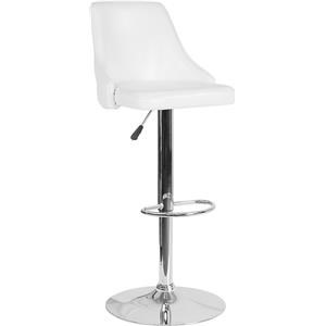 Contemporary Adjustable Height Barstool in White Leather
