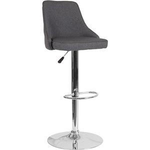 Adjustable Height Barstool in Dark Gray Fabric