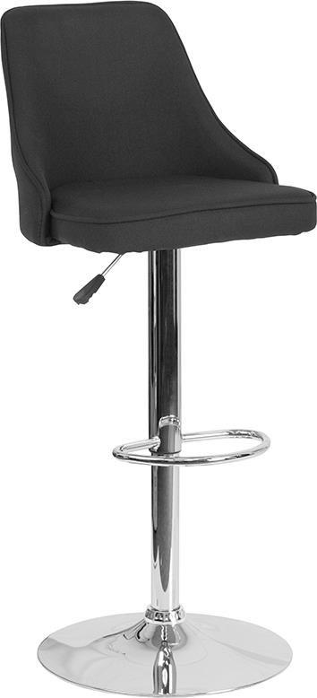 Adjustable Height Barstool in Black Fabric