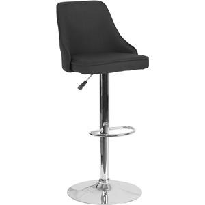 Adjustable Height Barstool in Black Fabric