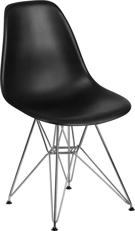 Black Plastic Chair with Chrome Base