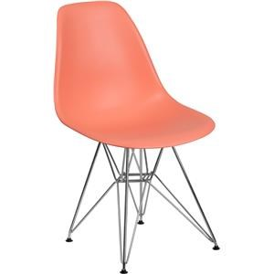 Peach Plastic Chair with Chrome Base