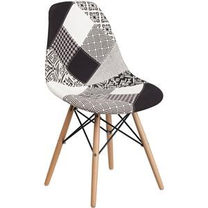 Turin Patchwork Chair with Wooden Base