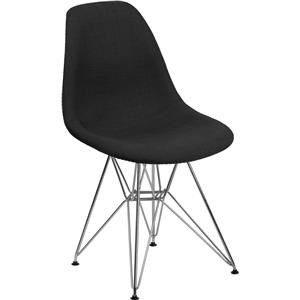 Black Upholstered Chair with Chrome Base
