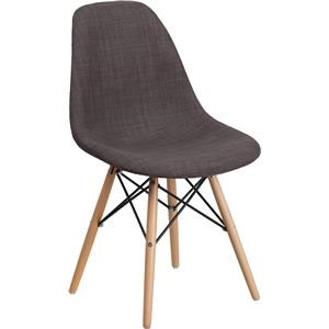 Gray Upholstered Chair with Wooden Base