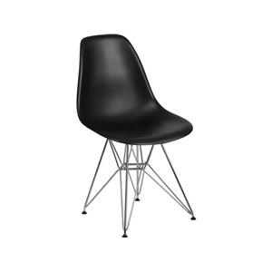 2 Black Plastic Side Chairs with Chrome Base Set