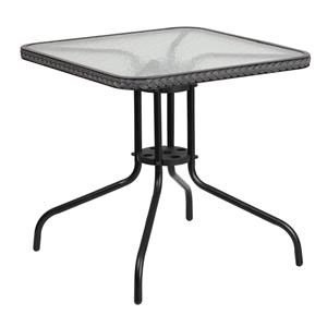 28'' Square Tempered Glass Metal Table with