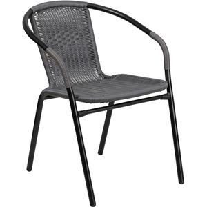 Gray Rattan Indoor-Outdoor Stack Chair