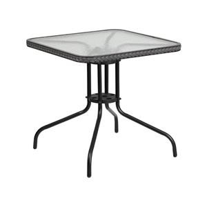 3 Piece Square Glass Table and 2 Stack Arm Chairs Set