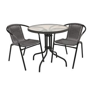 3 Piece Gray Glass & Rattan Outdoor Dining Set