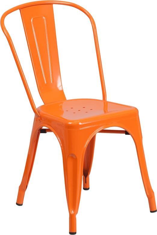 Metal Indoor-Outdoor Chairs Orange Metal Indoor-Outdoor Stackable Chair by Winslow Home at Sam Levitz Furniture