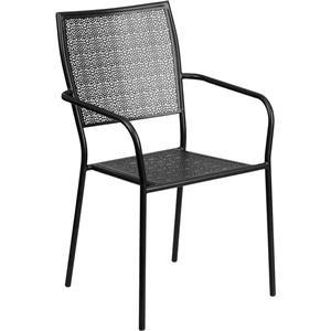 Black Indoor-Outdoor Steel Patio Arm Chair w