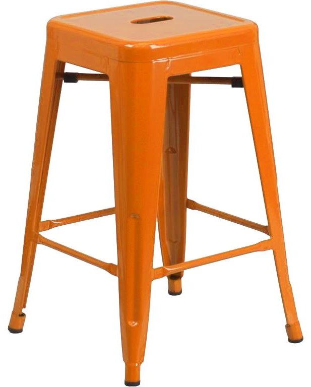 """Metal Indoor-Outdoor Chairs 24"""" Orange Metal Barstool by Winslow Home at Sam Levitz Outlet"""