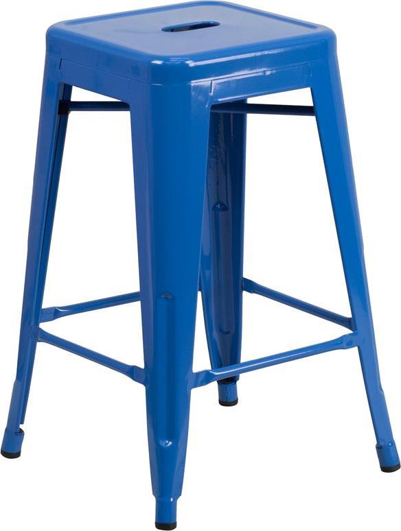 24'' High Backless Blue Metal Indoor-Outdoor